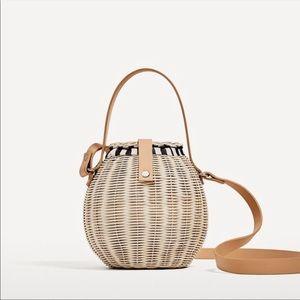NWT Zara Raffia Basket Bag